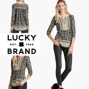 Lucky Brand Woodblock Floral Boho Top Small NWT